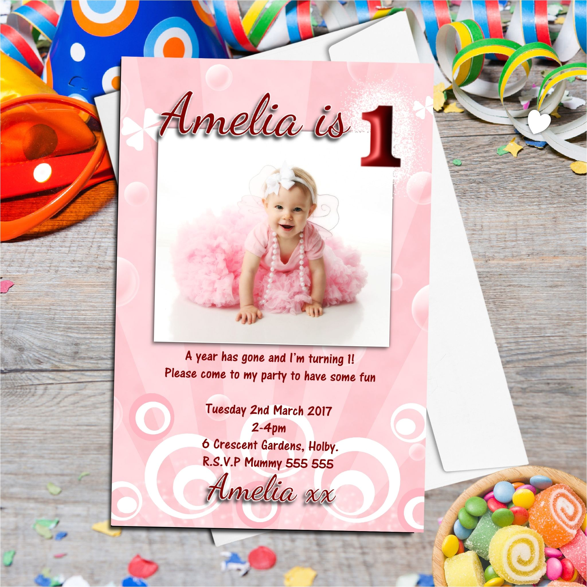 10 personalised girls first birthday party photo invitations n12 518 p