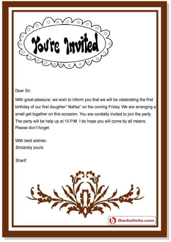 birthday invitation letter sample