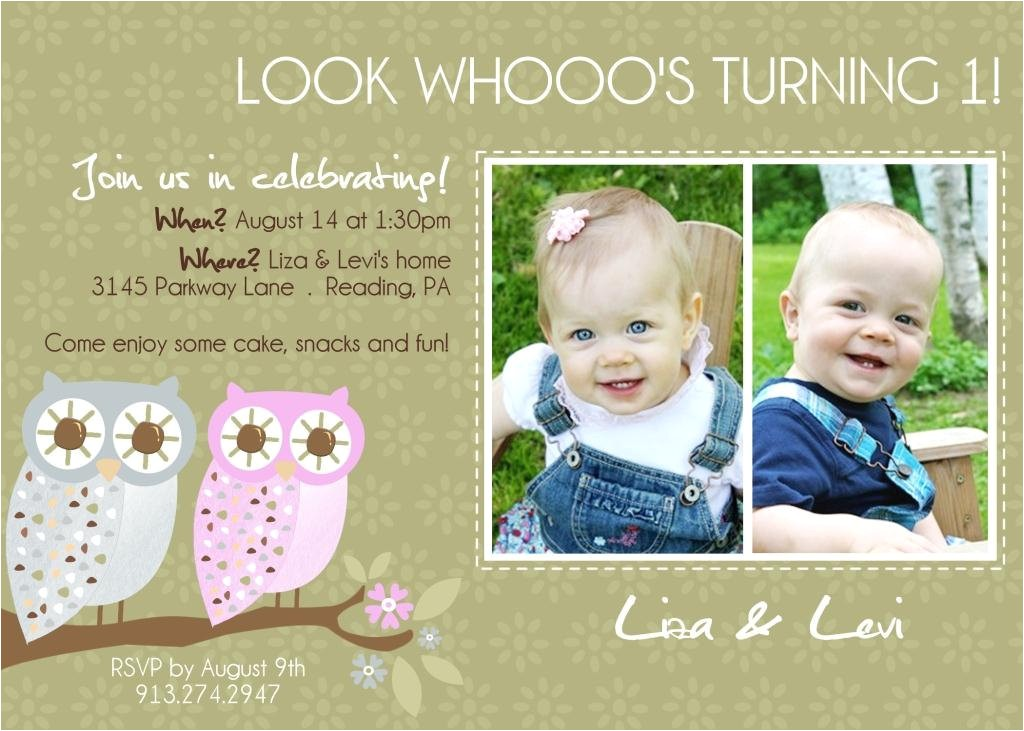twins 1st birthday invitation you print