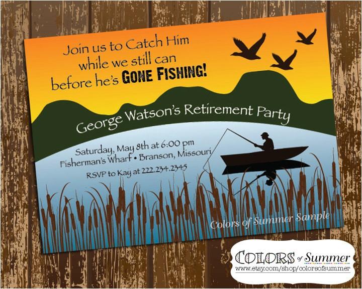 Fishing Retirement Party Invitations Fishing Retirement Invitation Retirement Party Celebration