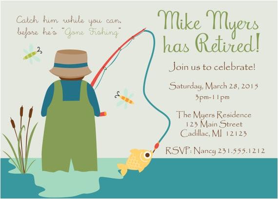 gone fishing retirement invitation fun