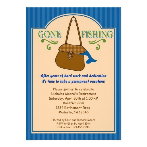 gone fishing retirement party invitation
