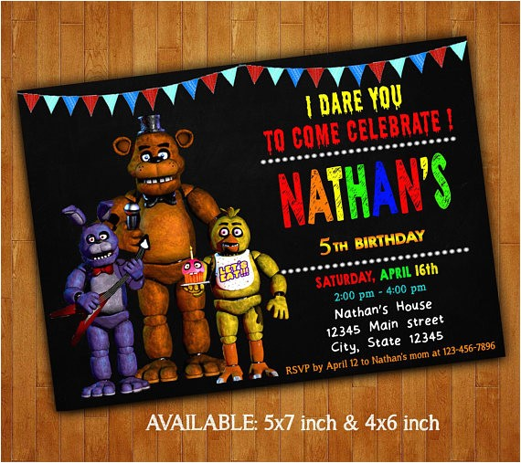 five nights at freddys invitations five