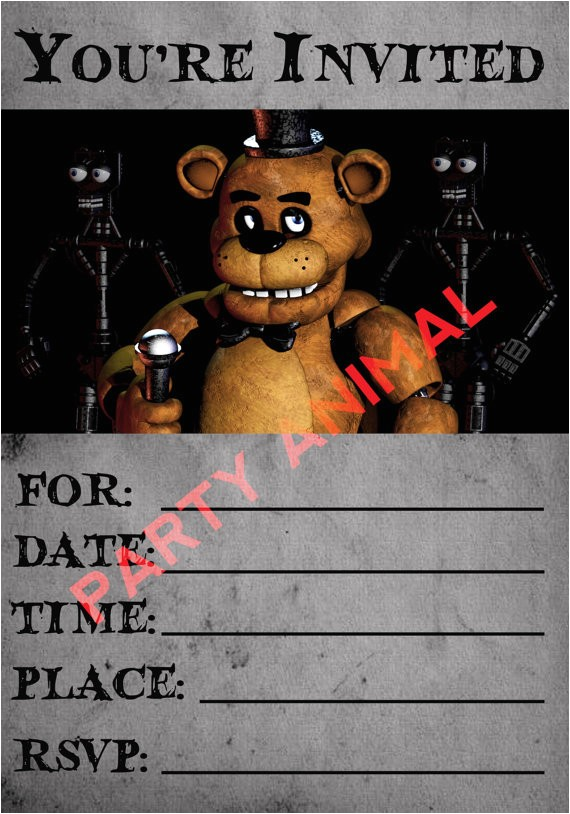 five nights at freddys party invitation