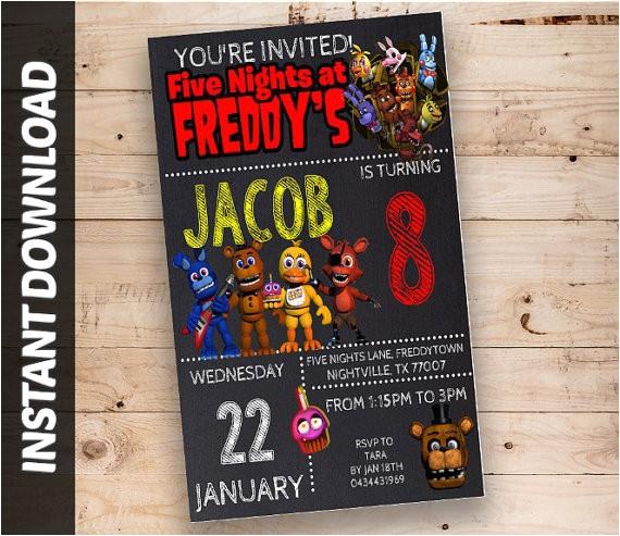 fnaf invitations five nights at freddys