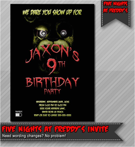 five nights freddys invitation freddy fazzbear