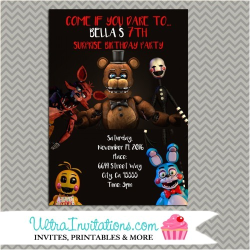 fnaf etsy invitation design