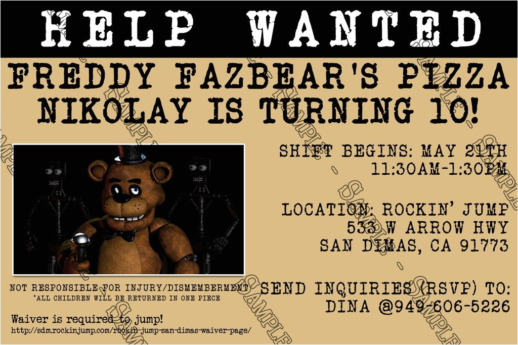 five nights at freddys video game birthday party invitation