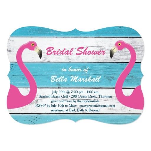 blue white flamingo bridal shower invitation 256253936510786480