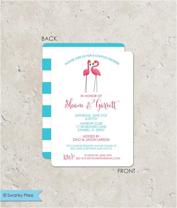 pink flamingo couples bridal shower invitation