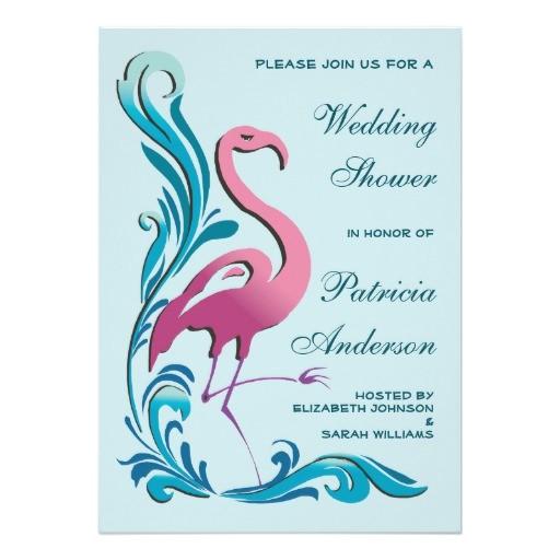 pink flamingo teal swirls wedding bridal shower invitation 161580972928366090