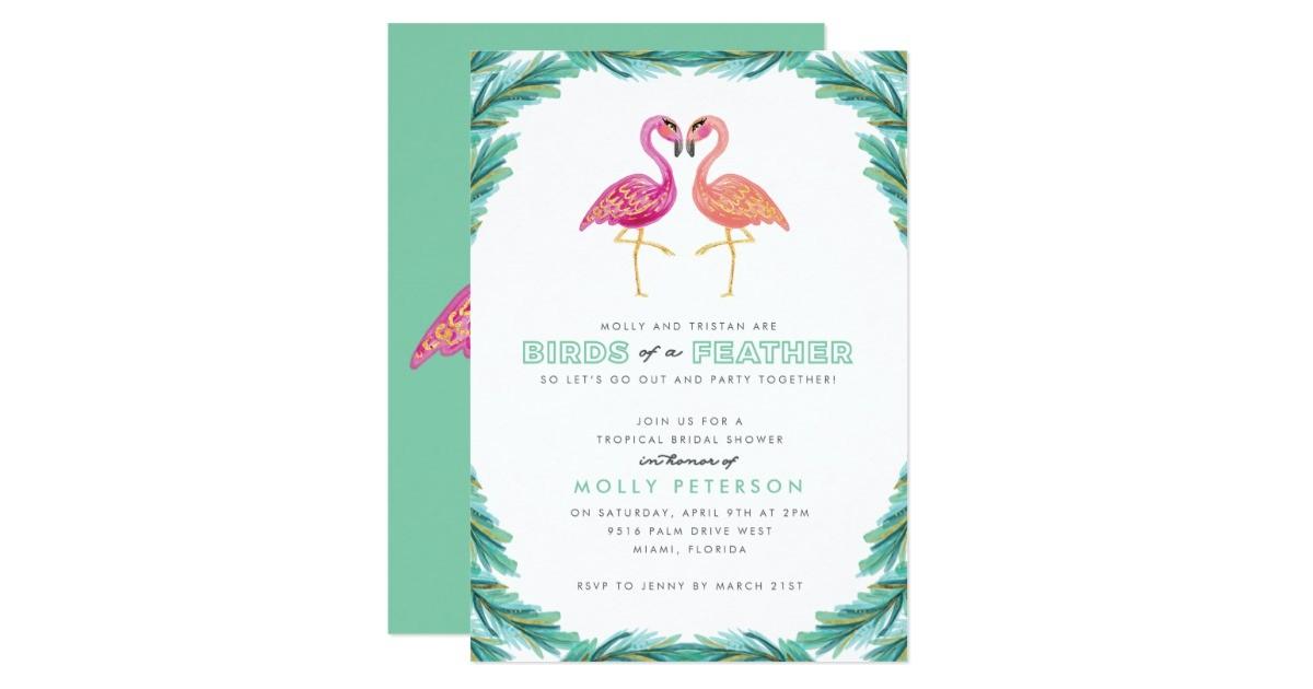 tropical flamingo bridal shower invitation 256340433839755131