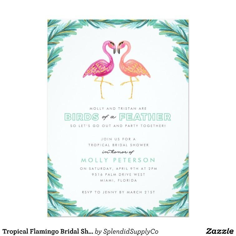 Flamingo Bridal Shower Invitations Tropical Flamingo Bridal Shower Invitation Zazzle