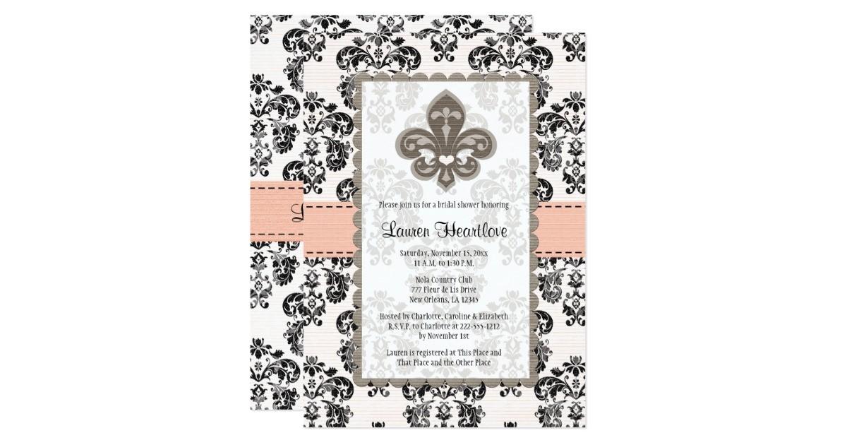 coral peach fleur de lis bridal shower invitations 161630262082488643
