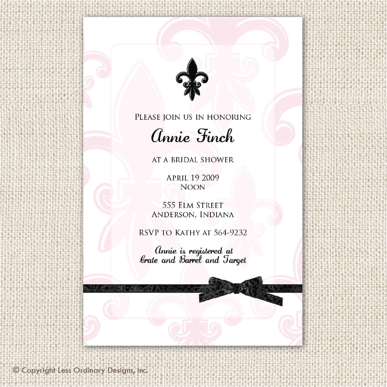 pink and black fleur de lis bridal