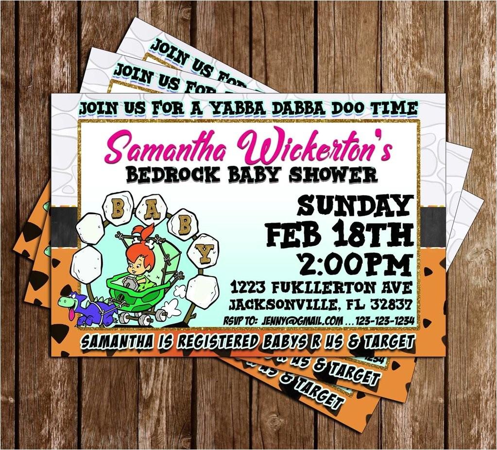 Flintstones Baby Shower Invitations Novel Concept Designs Flintstones Baby Shower Invitation