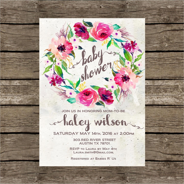 baby shower invitation printable purple