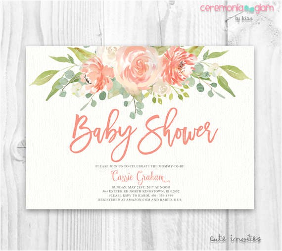 floral baby shower invitation floral