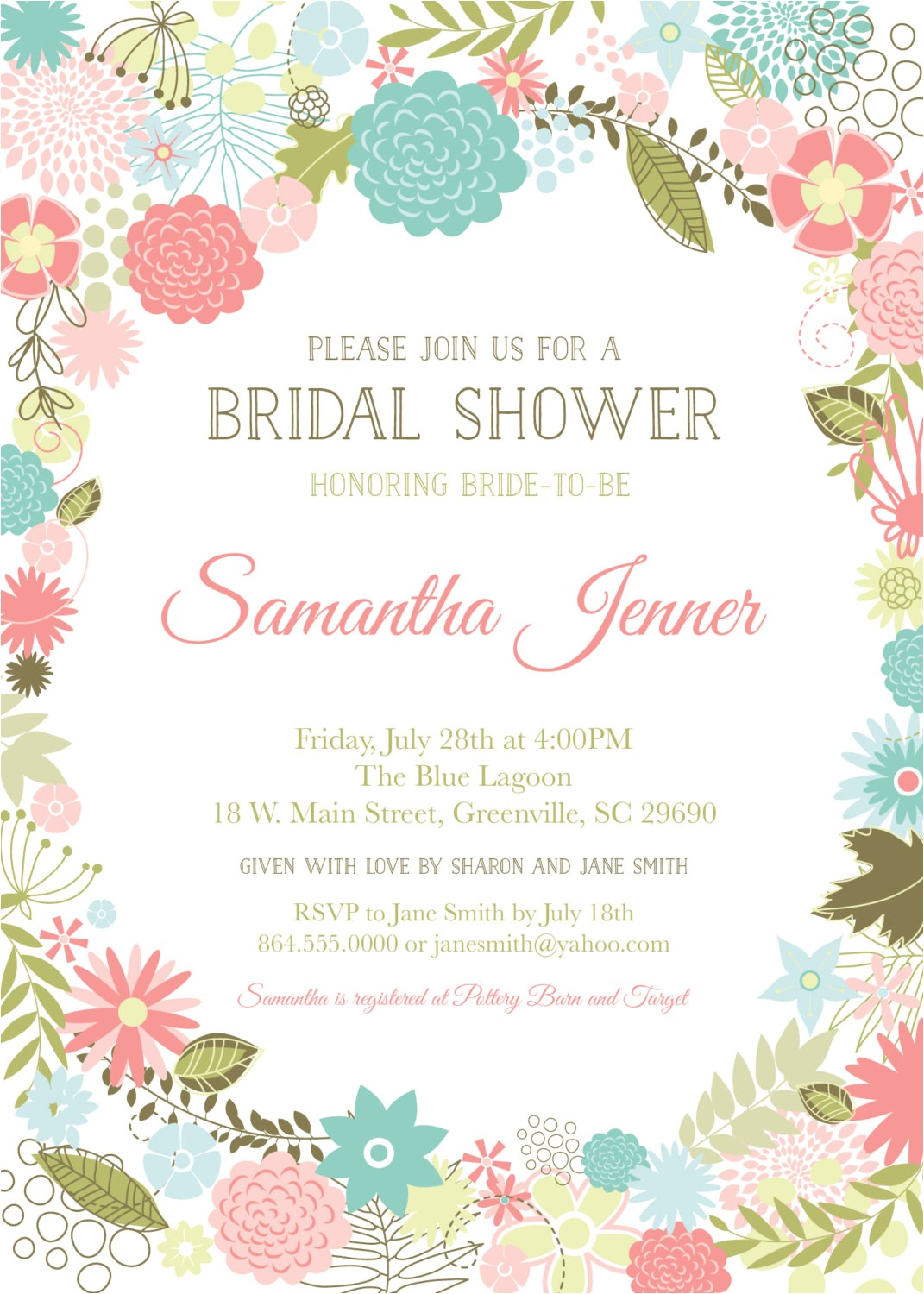 floral baby shower invitations