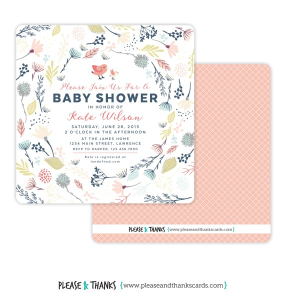 printable baby shower invitation floral