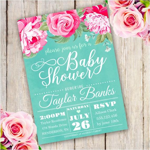 floral baby shower invitation edit adobe reader