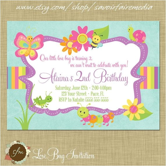 animal and bug themed invitations