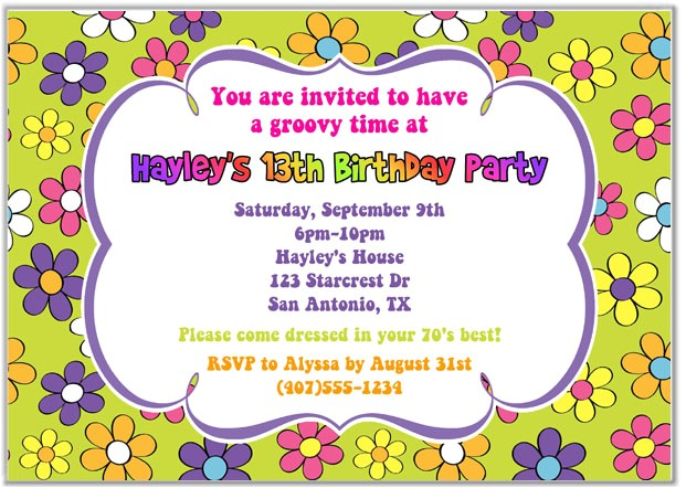 Retro Flower Power 60s 70s Birthday Party Invitations