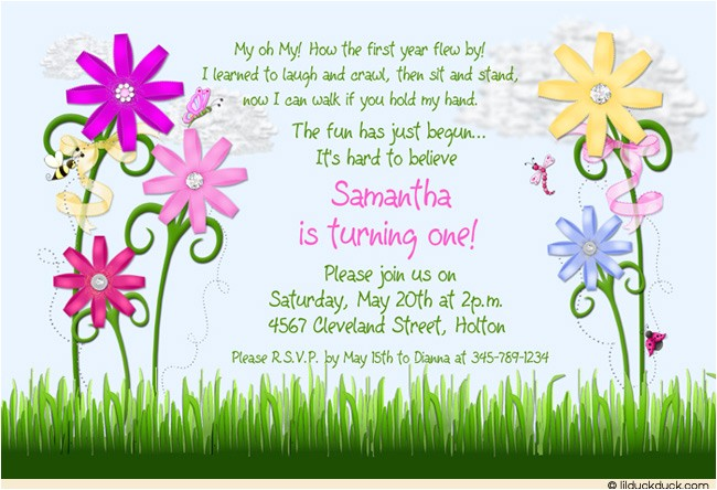 sunny flower birthday invitation