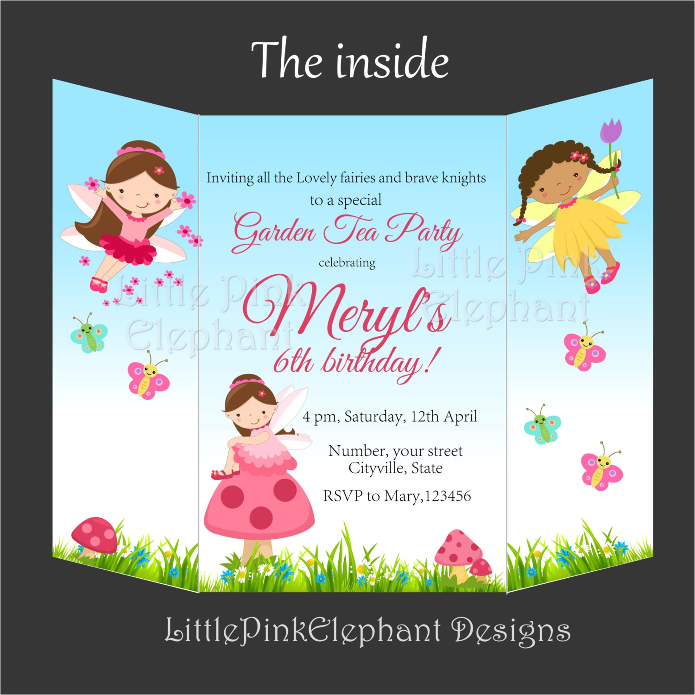 fairy invitation foldable birthday party