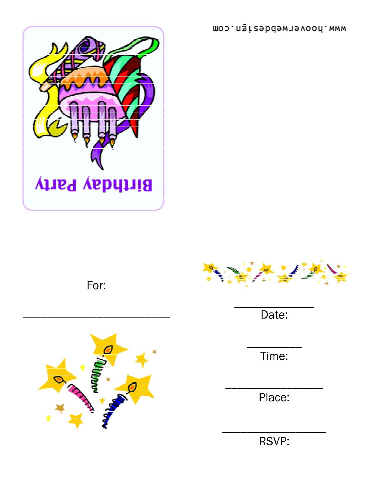 Foldable Birthday Invitations Free Free Printable Invitation Cards Template