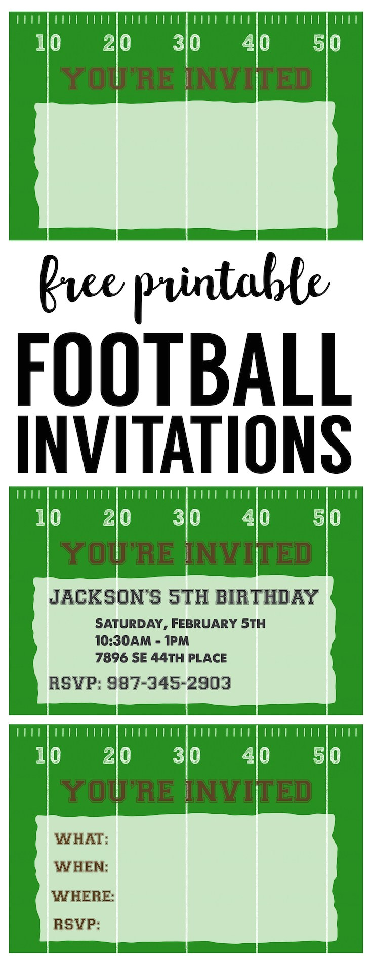football party invitation template free printable