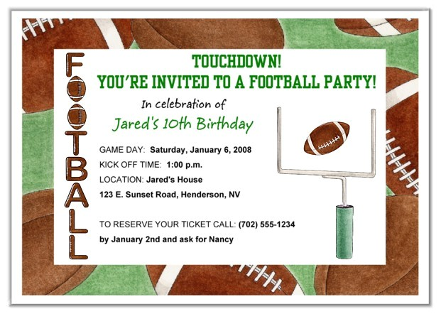 football party invitation wording