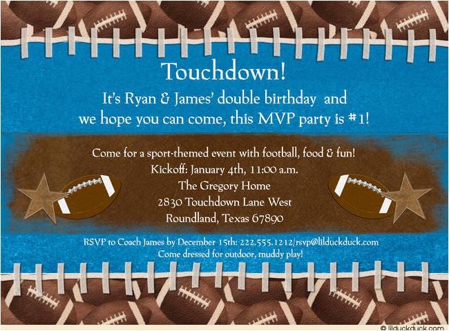 touchdown football photo invitation