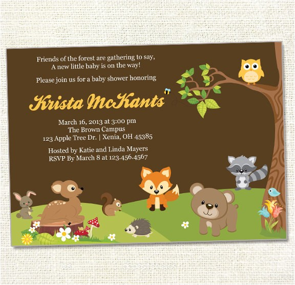 Forest Friends Baby Shower Invitations forest Friends Baby Shower Invitation Woodland Friends