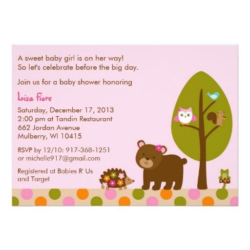 forest friends girls baby shower invitation