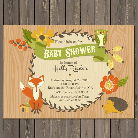 fall woodland animals floral frame baby