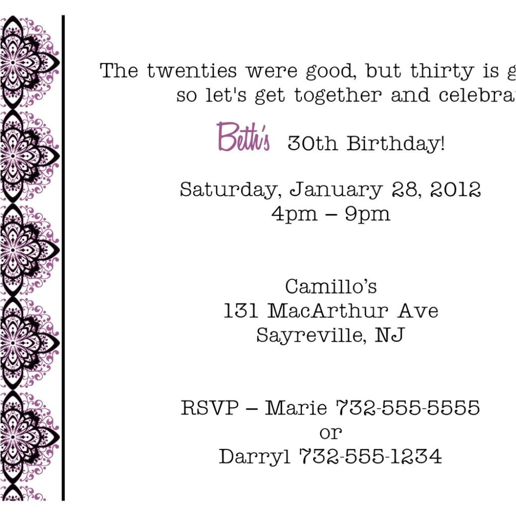 formal birthday party invitation wording