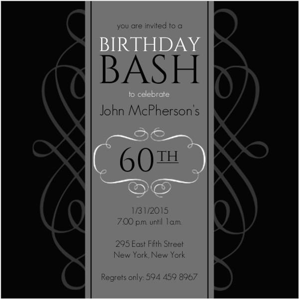 black grey formal soiree 60th birthday invitation