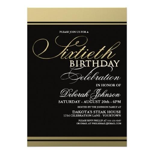 gold formal 60th birthday invitations