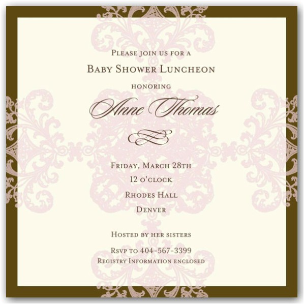 Formal Pattern Pink Baby Shower Invitations p 603 668 4 BS