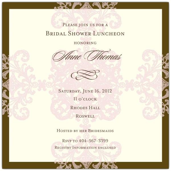 Formal Pattern Pink Bridal Shower Invitations p 603 668 4 BR