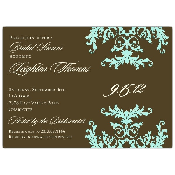 Formal Side Pattern Turquoise Bridal Shower Invitations p 603 75 711