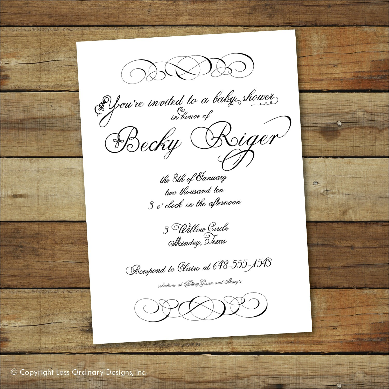 formal bridal shower invitation modern