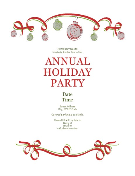 holiday party invitation with ornaments and red ribbon formal design tm10248065