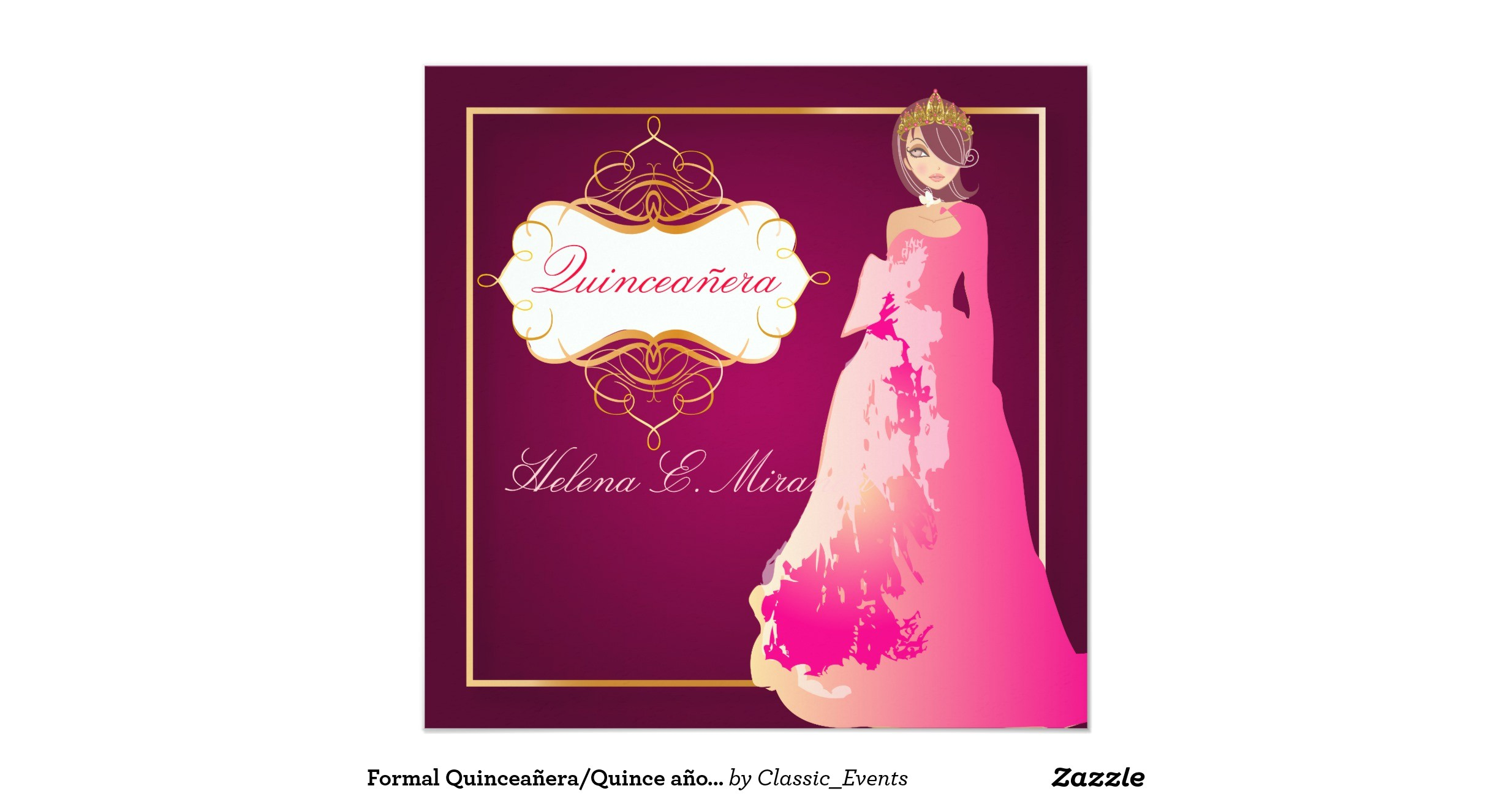 formal quinceanera quince anos princess invitation 161088101407120383