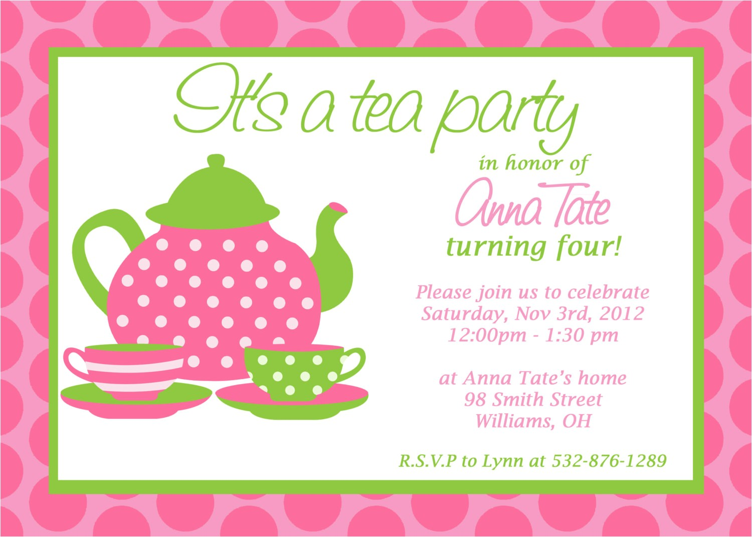 great design tea party invitation wording example