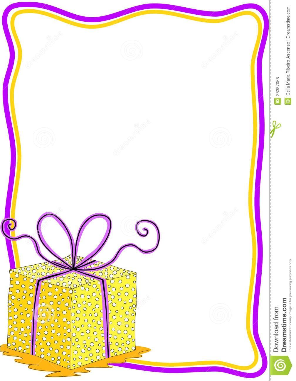 Frames for Birthday Invitation Cards Gift Box Invitation Card with Frame Stock Illustration