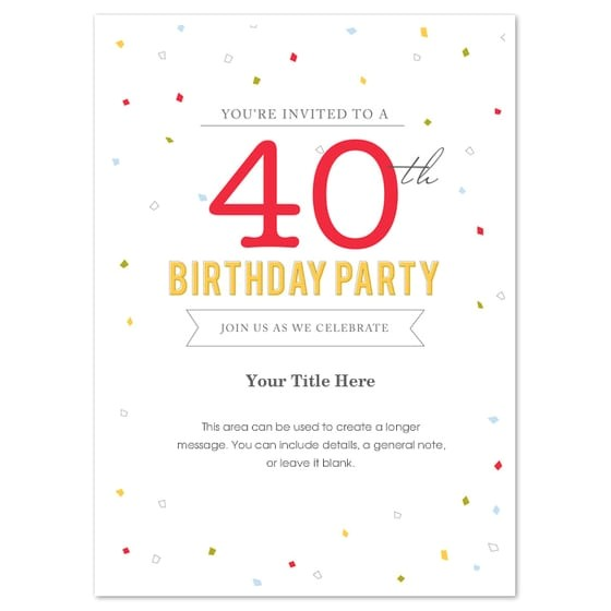 40th birthday invitation template word