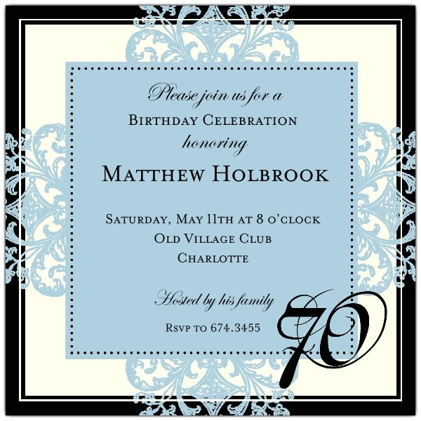 decorative square border blue 70th birthday invitations p 603 55 675 70