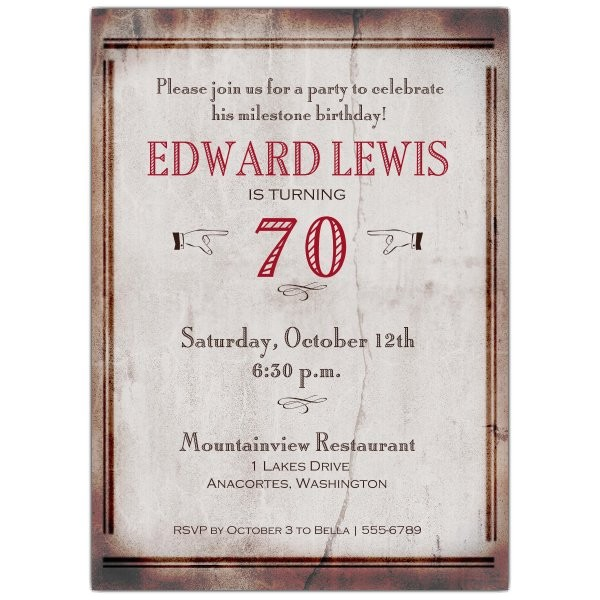 old world 70th birthday invitations p 608 57 168